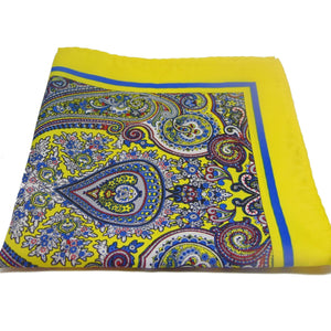 Yellow Paisley Pocket Square-pocket square-Society Gent