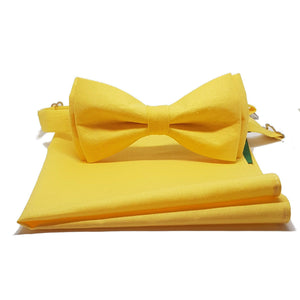 Yellow Pre-Tied Bow Tie and Pocket Square-bow ties-Society Gent
