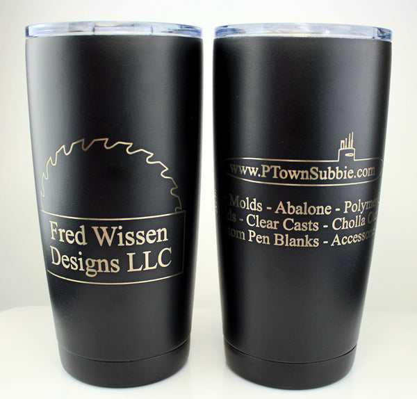 Laser Engraved Travel Mugs - 20 ounce - black