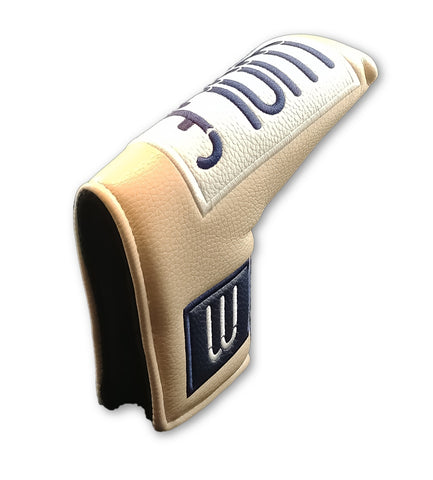 Beige & Navy Leather Putter Cover