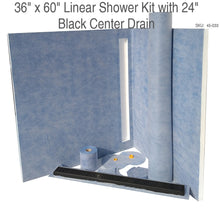 Load image into Gallery viewer, 36 x 60 Linear Shower Kit with 24 Black Center Drain