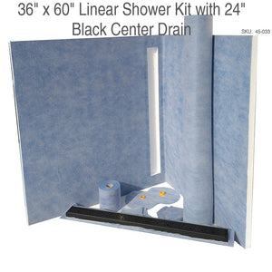 36 x 60 Linear Shower Kit with 24 Black Center Drain