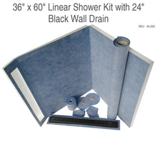 Load image into Gallery viewer, 36 x 60 Linear Shower Kit with 24 Black Wall Drain