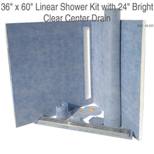 Load image into Gallery viewer, 36 x 60 Linear Shower Kit with 24 Bright Clear Center Drain SKU: 45-023