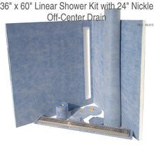 "Load image into Gallery viewer, 36"" x 60"" Linear Shower Kit with 24"" Nickle Off-Center Drain SKU:  45-013"
