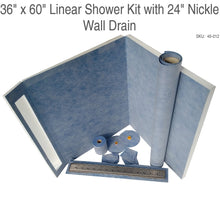 "Load image into Gallery viewer, 36"" x 60"" Linear Shower Kit with 24"" Nickle Wall Drain SKU:  45-012"