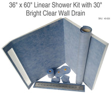 Load image into Gallery viewer, 36 x 60 Linear Shower Kit with 30 Bright Clear Wall Drain SKU: 45-025