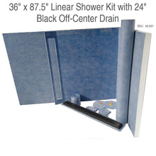 Load image into Gallery viewer, 36 x 87.5 Linear Shower Kit with 24 Black Off-Center Drain