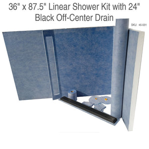 36 x 87.5 Linear Shower Kit with 24 Black Off-Center Drain