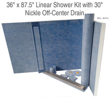 "Load image into Gallery viewer, 36"" x 87.5"" Linear Shower Kit with 30"" Nickle Off-Center Drain SKU:  45-014"