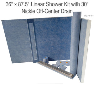 "36"" x 87.5"" Linear Shower Kit with 30"" Nickle Off-Center Drain SKU:  45-014"
