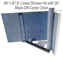 Load image into Gallery viewer, 36 x 87.6 Linear Shower Kit with 30 Black Off-Center Drain