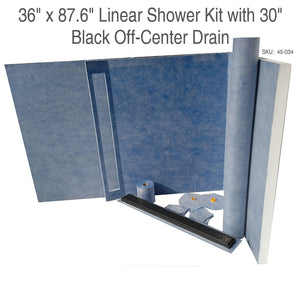 36 x 87.6 Linear Shower Kit with 30 Black Off-Center Drain