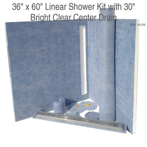 36 x 60 Linear Shower Kit with 30 Center drain Bright Clear SKU: 45-026