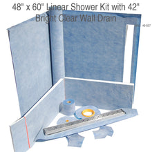 Load image into Gallery viewer, 48 x 60 Linear Shower Kit with 42 Bright Clear Wall Drain  SKU: 45-027