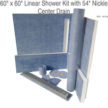 "Load image into Gallery viewer, 60"" x 60"" Linear Shower Kit with 54"" Nickle Center Drain SKU:  45-020"