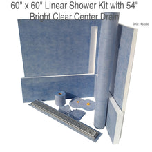 Load image into Gallery viewer, 60 x 60 Linear Shower Kit with 54 Bright Clear Center Drain SKU  45-030
