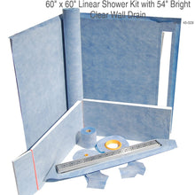 Load image into Gallery viewer, 60 x 60 Linear Shower Kit with 54 Bright Clear Wall Drain SKU 45-029