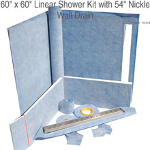 "Load image into Gallery viewer, 60"" x 60"" Linear Shower Kit with 54"" Nickle Wall Drain SKU:  45-019"