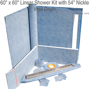 "60"" x 60"" Linear Shower Kit with 54"" Nickle Wall Drain SKU:  45-019"