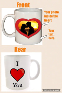 Love heart personalised mug, Valentine's Day