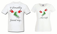 "Very cute split message couple matching t-shirt ""I finally found my other half"""