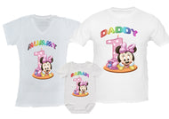 Personalised Birthday party family matching outfit, girl's 1st birthday - Minnie Mouse - any name