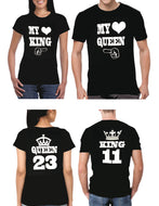 My Queen/My King couple matching t-shirts, custom numbers