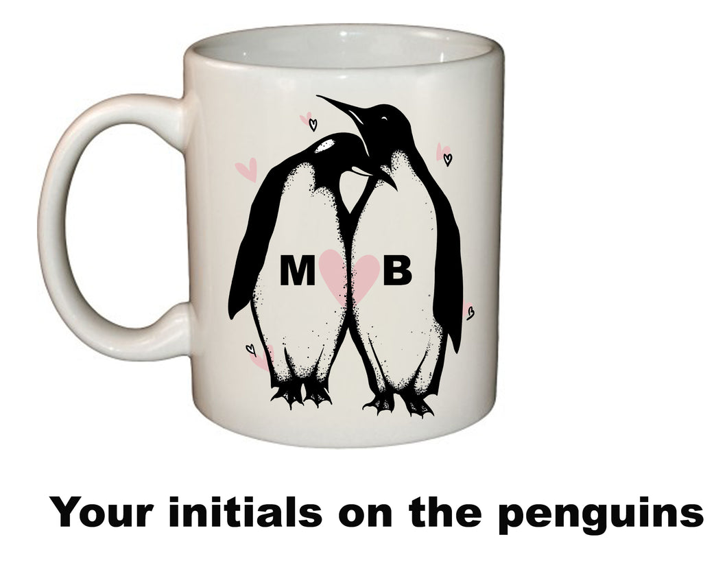 Penguin couples mug - custom initials