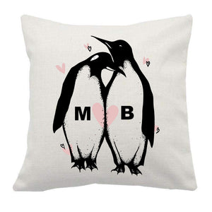 Personalised custom initials Penguins couple linen cushion cover