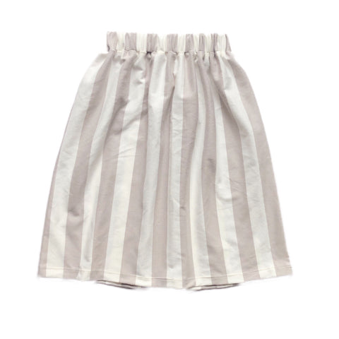 Taupe Wide Stripe Midi Skirt
