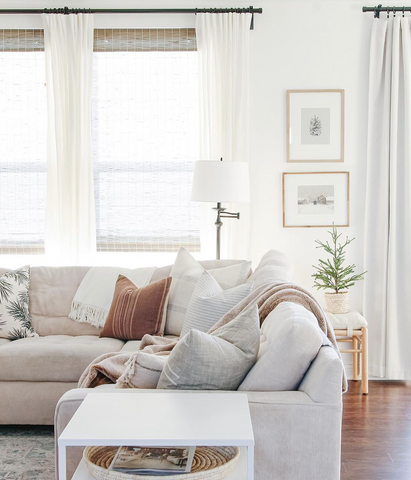 Sectional with pillows in every corner