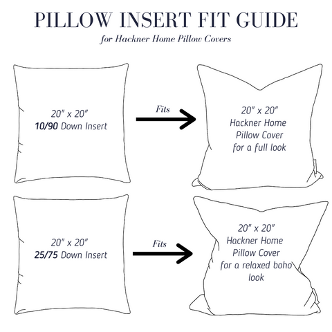 Down Feather Pillow Fit Guide, Pillow Fit Guide, Pillow Styling Guide, Pillow Insert Fit Guide, Hackner Home, Decorative Pillows, Designer Pillows
