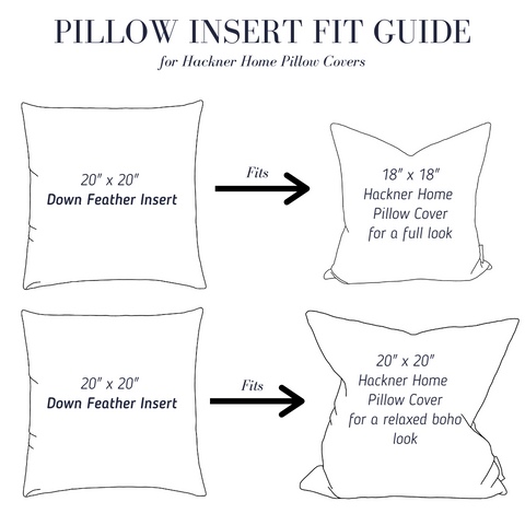 Down feather insert fit guide
