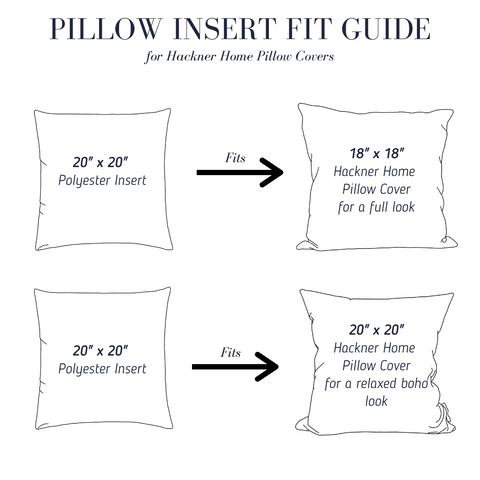 Craft Polyester Insert Guide,  Polyester Pillow inserts, Pillow Fit Guide, Hackner Home, Decorative Pillows, Designer Pillows, Curated Pillows, Guide to pillows, Pillow Shop