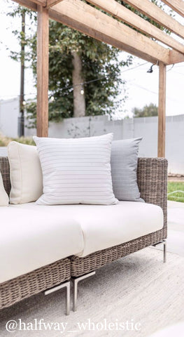 Outdoor Pillow Cover, Outdoor pillows, Striped Pillows, Designer Outdoor Pillows, Halfway_Wholeistic, Hackner Home, White Pillows, Gray Pillows, Decorative Pillows