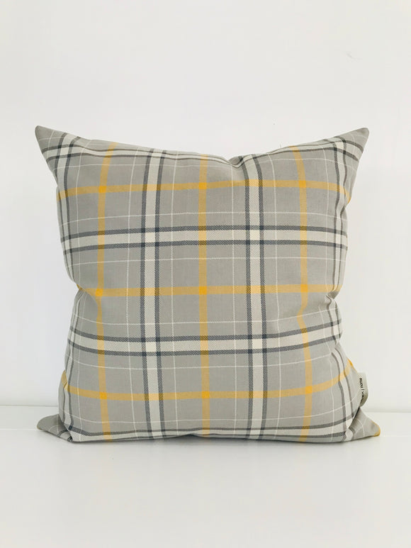 Gray and Yellow Plaid Pillow Cover, Fall Pillow Cover, Taxi Pillow Cover, Gray Pillow Cover, Hackner Home, Designer Pillow Cover