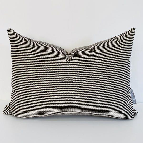 Pin Stripe, Black Pin Stripe Pillow, Decorative Pillows, Pillow Covers, Designer Pillows, Hackner Home, Black Pillow Cove, Black decorative Pillow, Lumbar Pillows, Modern Pillows