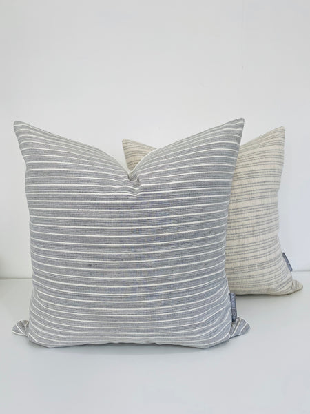 Stormy Gray Blue Pillow Cover, Decorative Pillow Cover, Moody Blue Pillow, Designer Pillow, Striped Pillow, Hackner Home, Gray Pillow Covers, Gray Pillows, Striped Gray Pillow, Grey Pillows, Curated Pillows