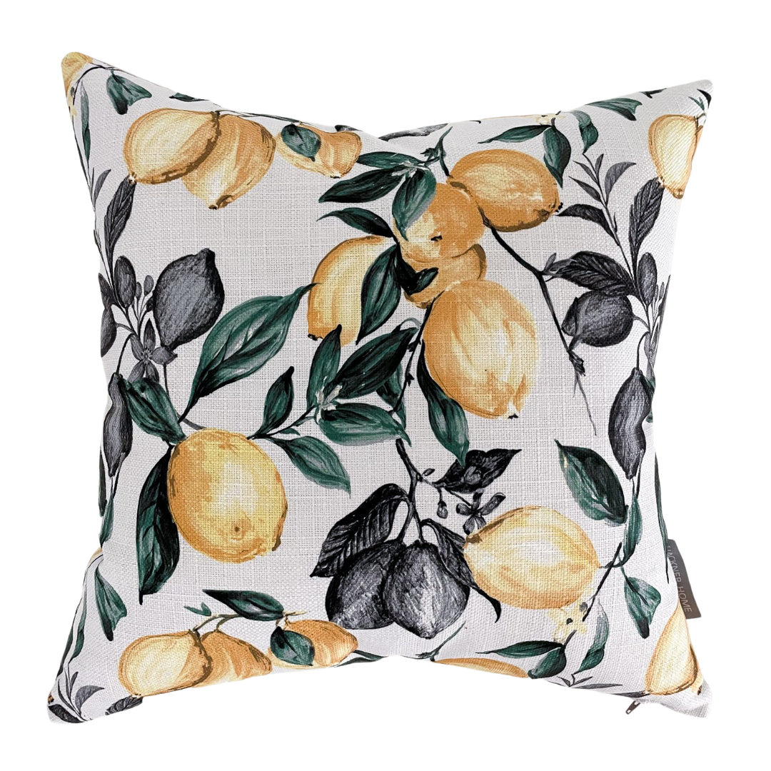 Lemons Pillow Cover, Lemon Decor, Lemon fabric, Hackner Home, Decorative pillows, Handmade Pillow Shop