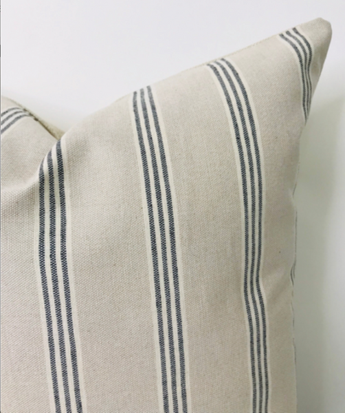 Farmhouse Pillow, Designer Pillow, Hackner Home, Decorative pillow covers, Ticking Stripe Pillow Cover, Ticking Fabric, Striped Pillow Cover, Beige Pillow Cover, Modern Farmhouse Pillow