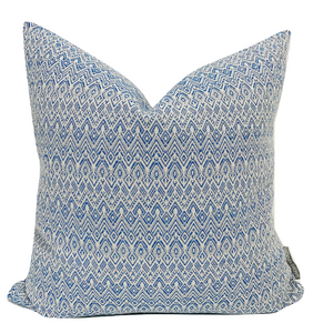 Blue Pillow Cover, Blue Outdoor Pillows, Modern Boho Pillows, Outdoor Pillows, Outdoor Boho Pillows, Hackner Home, Decorative Pillows, Designer Pillows, Designer Pillow Cover, Pillow Covers, Cushion Covers, High End Pillows, Curated Pillows, Curated Pillow Covers, Blue and White Pillows, Boho Farmhouse Pillow, Farmhouse Pillow Cover