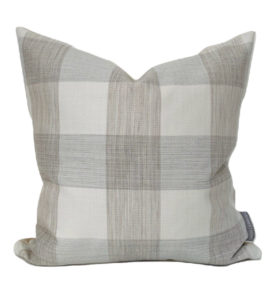 Neutral Big Gingham Pillow Cover