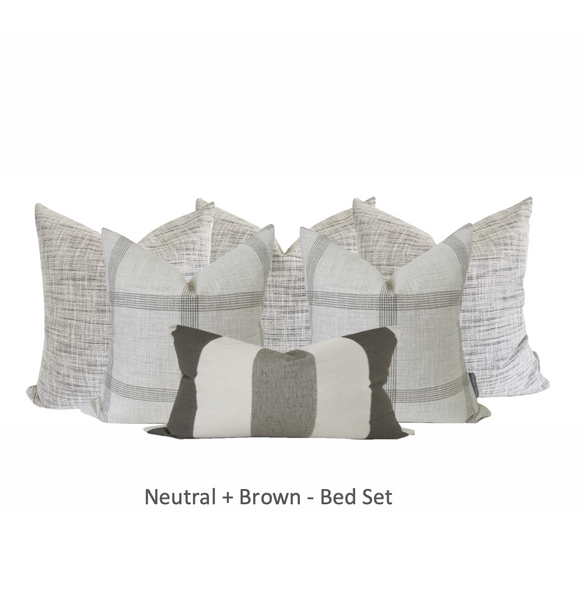 Neutral + Brown - Bed Set, Neutral Bed Sets, Decorative Pillows for bed, Bed pillow set, Hackner Home Pillows, Designer Pillows, Curated Pillows, Up Scale Pillow Sets, Brown pillows, Gray Pillows