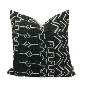 Mud Cloth Pillow Cover, Black Mud Cloth Pillow, Tribal Pillow Cover, Ethnic Pillow Cover, Hackner Home