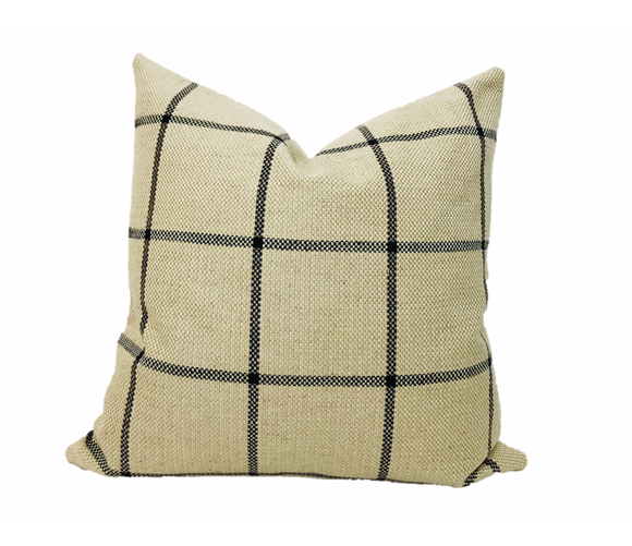 Windowpane Pillow Cover, Farmhouse Pillow, Plaid Pillow, Hackner Home
