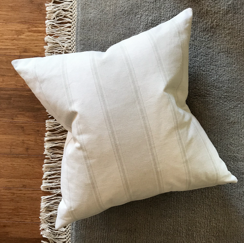 Cream Pillows, Neutral Pillows, White Pillows, White and Gray Pillow, Decorative Pillows, Designer Pillows, Modern Pillows, Modern Farmhouse Pillow, Striped Pillow Cover, Decorative Pillow Cover, Hackner Home