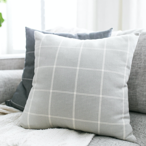 Gray Pillow, Windowpane Pillow, Decorative Pillows, Designer Pillows, Pillow Sets, Couch Cushions, Hackner Home, Decorative Pillows, Gray Pillow Covers