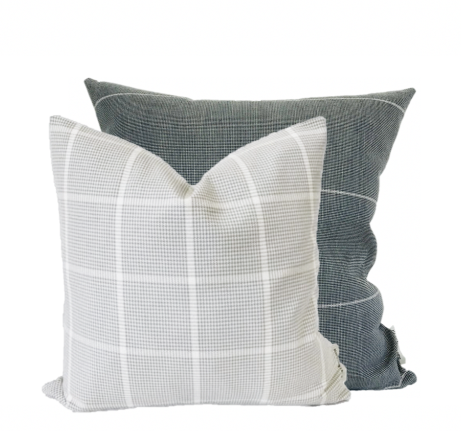 Pillow Groupings, Designer Pillows, Gray Plaid Pillows, Gray Pillows, Hackner Home, @hacknerhome, windowpane pillows