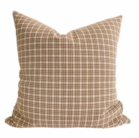 Brown Plaid Pillow Cover, Plaid Pillow Cover, Decorative pillow cover, Hackner Home, Designer Pillows, Pillows, Check pillow cover